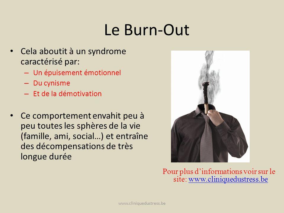 www.cliniquedustress.be Le Burn-Out Cela aboutit à un syndrome caractérisé par: – Un épuisement émotionnel – Du cynisme – Et de la démotivation Ce com