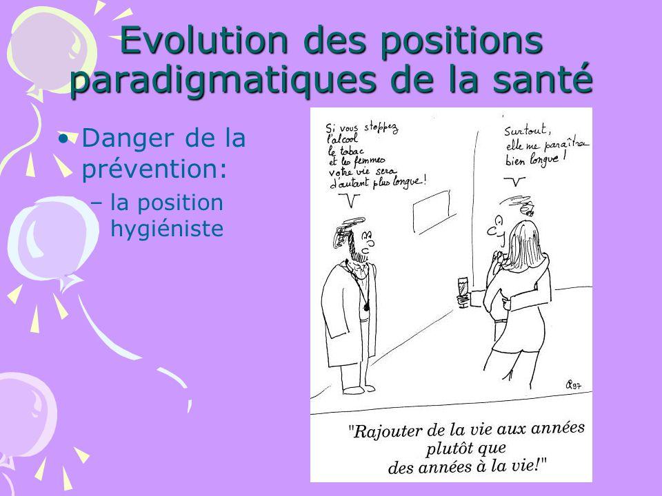 Evolution des positions paradigmatiques de la santé Danger de la prévention: –la position hygiéniste