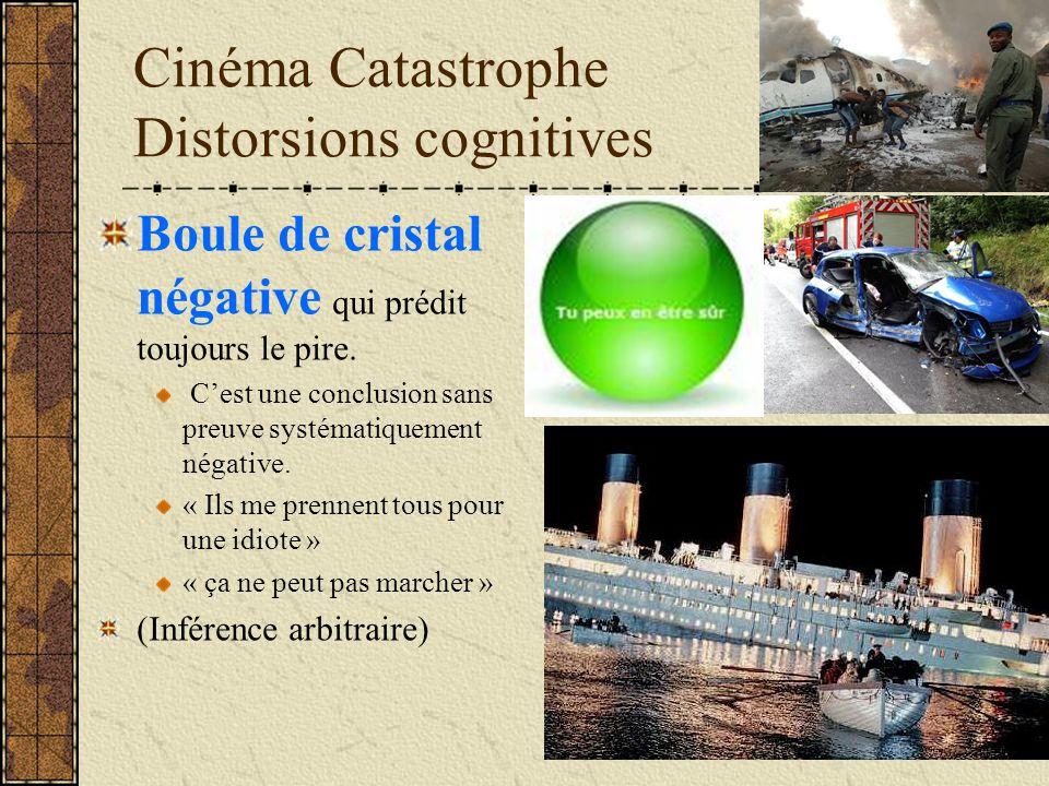 Cinéma Catastrophe Distorsions cognitives Boule de cristal négative qui prédit toujours le pire. Cest une conclusion sans preuve systématiquement néga
