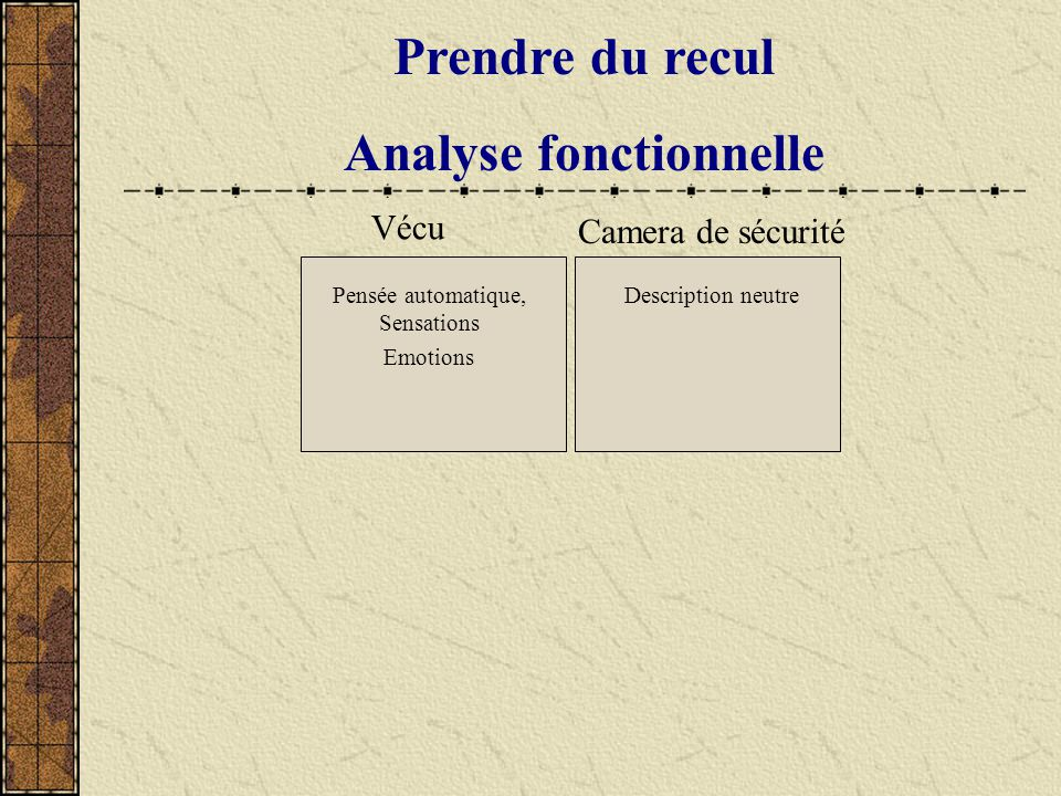 Prendre du recul Analyse fonctionnelle Vécu Pensée automatique, Sensations Emotions Camera de sécurité Description neutre