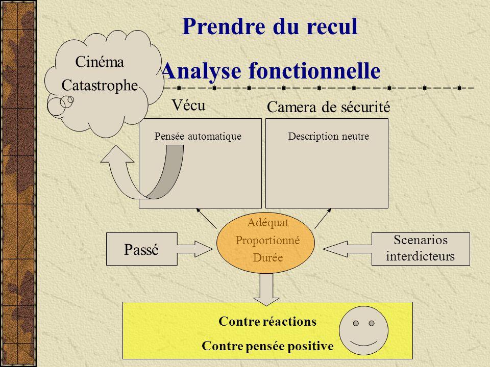 Prendre du recul Analyse fonctionnelle Adéquat Proportionné Durée Vécu Pensée automatique Camera de sécurité Description neutre Passé Contre réactions