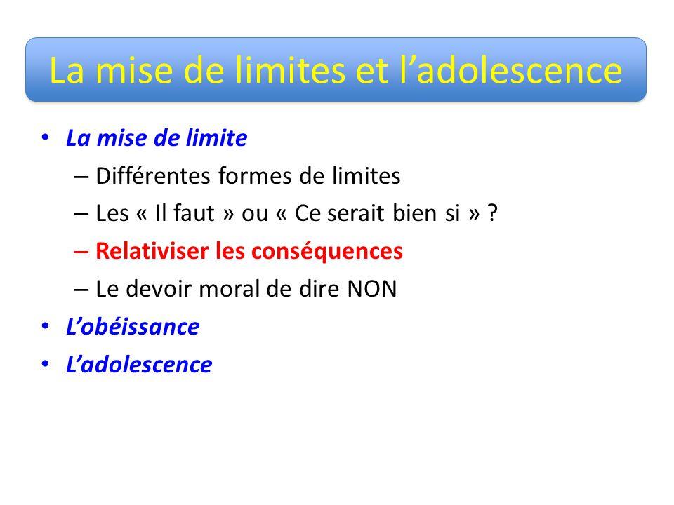La mise de limites et ladolescence La mise de limite – Différentes formes de limites – Les « Il faut » ou « Ce serait bien si » ? – Relativiser les co