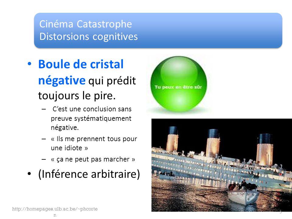 Cinéma Catastrophe Distorsions cognitives Boule de cristal négative qui prédit toujours le pire. – Cest une conclusion sans preuve systématiquement né