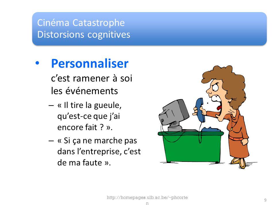 Cinéma Catastrophe Distorsions cognitives Personnaliser cest ramener à soi les événements – « Il tire la gueule, quest-ce que jai encore fait ? ». – «