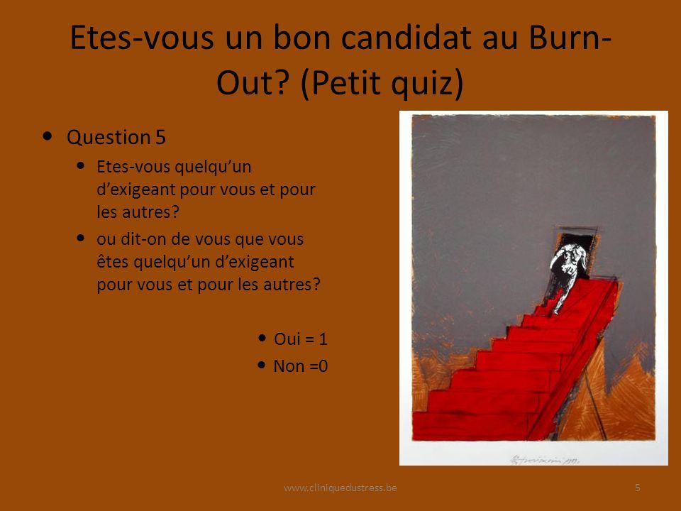 www.cliniquedustress.be Etes-vous un bon candidat au Burn- Out? (Petit quiz) Question 5 Etes-vous quelquun dexigeant pour vous et pour les autres? ou