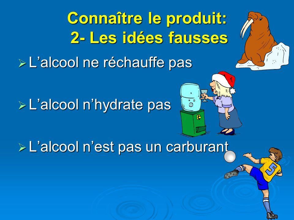 Connaître le produit: 2- Les idées fausses Lalcool ne réchauffe pas Lalcool ne réchauffe pas Lalcool nhydrate pas Lalcool nhydrate pas Lalcool nest pas un carburant Lalcool nest pas un carburant