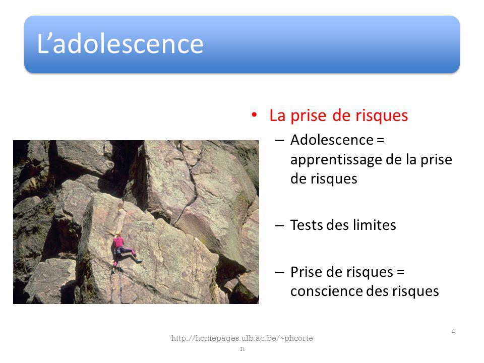 Ladolescence La prise de risques – Adolescence = apprentissage de la prise de risques – Tests des limites – Prise de risques = conscience des risques http://homepages.ulb.ac.be/~phcorte n 4