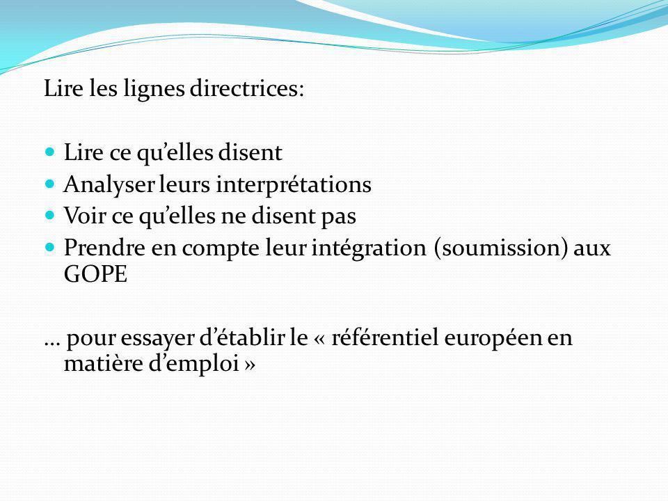 Lire les lignes directrices: Lire ce quelles disent Analyser leurs interprétations Voir ce quelles ne disent pas Prendre en compte leur intégration (soumission) aux GOPE … pour essayer détablir le « référentiel européen en matière demploi »