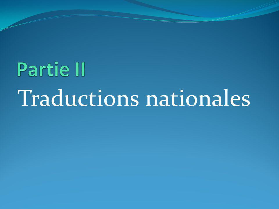 Traductions nationales