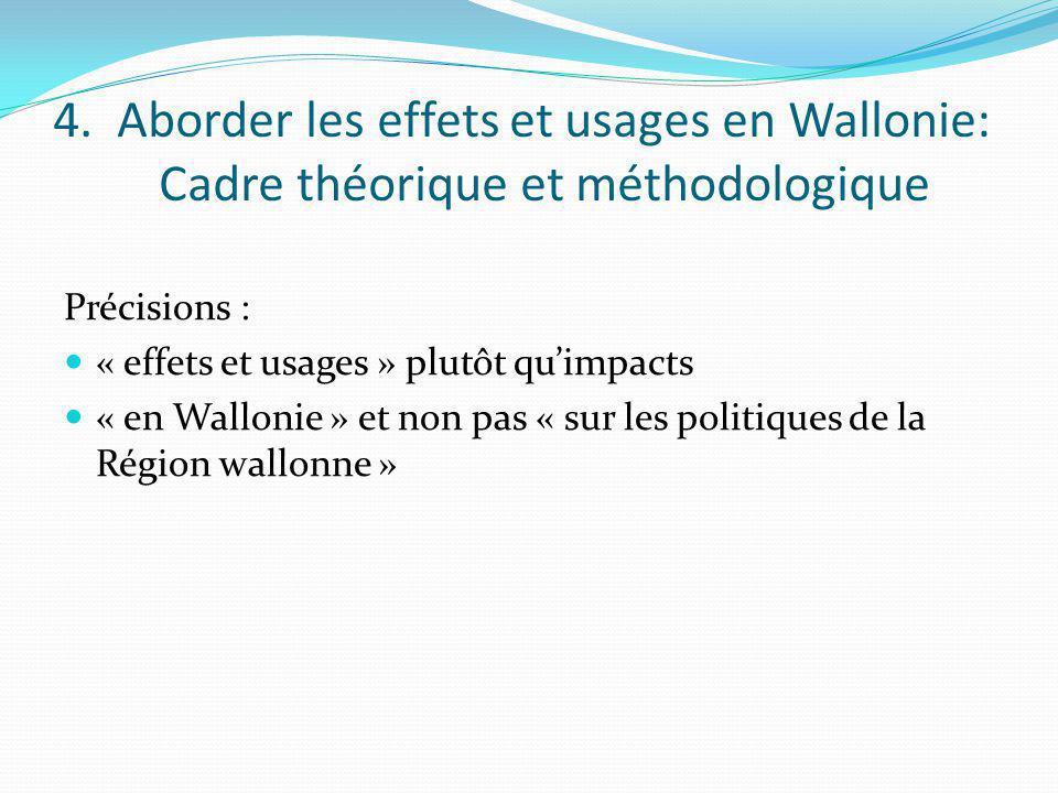 4. Aborder les effets et usages en Wallonie: Cadre théorique et méthodologique Précisions : « effets et usages » plutôt quimpacts « en Wallonie » et n