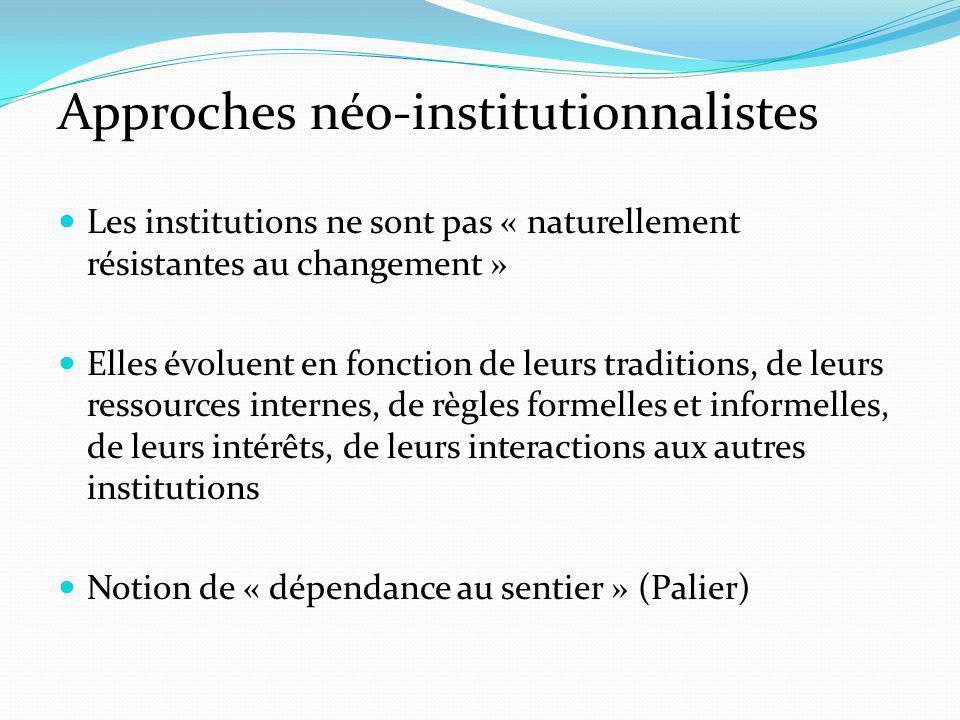 Approches néo-institutionnalistes Les institutions ne sont pas « naturellement résistantes au changement » Elles évoluent en fonction de leurs traditions, de leurs ressources internes, de règles formelles et informelles, de leurs intérêts, de leurs interactions aux autres institutions Notion de « dépendance au sentier » (Palier)