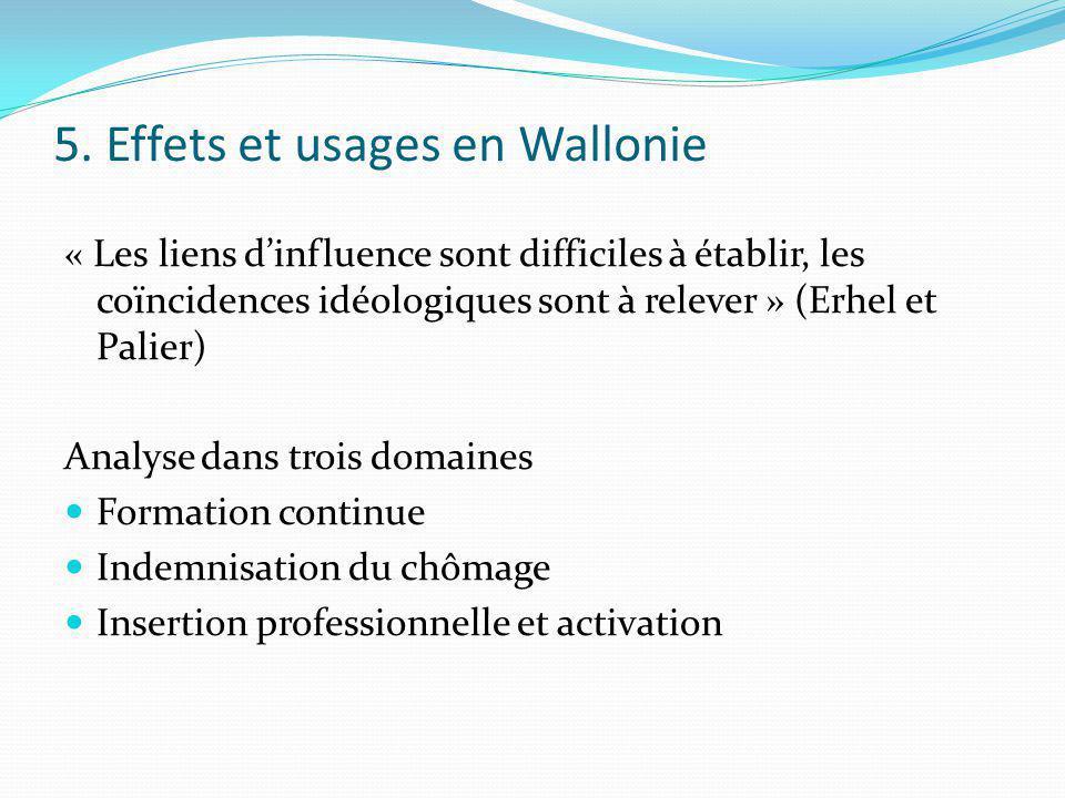 5. Effets et usages en Wallonie « Les liens dinfluence sont difficiles à établir, les coïncidences idéologiques sont à relever » (Erhel et Palier) Ana