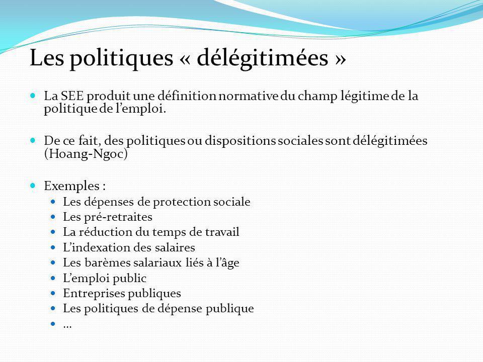 Les politiques « délégitimées » La SEE produit une définition normative du champ légitime de la politique de lemploi.