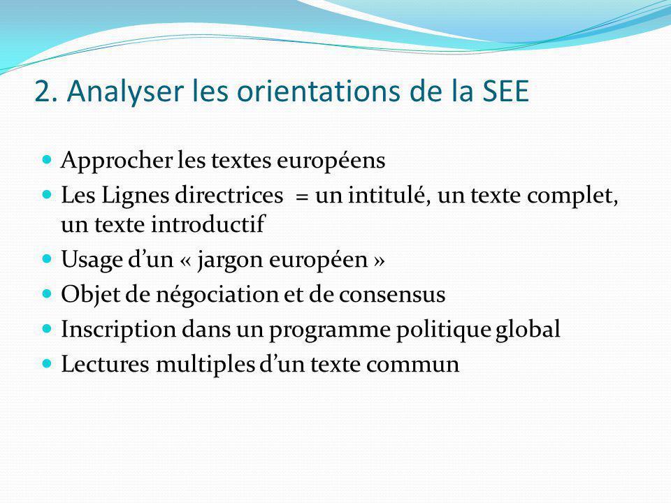 2. Analyser les orientations de la SEE Approcher les textes européens Les Lignes directrices = un intitulé, un texte complet, un texte introductif Usa