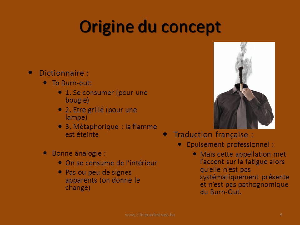www.cliniquedustress.be Origine du concept Dictionnaire : To Burn-out: 1.