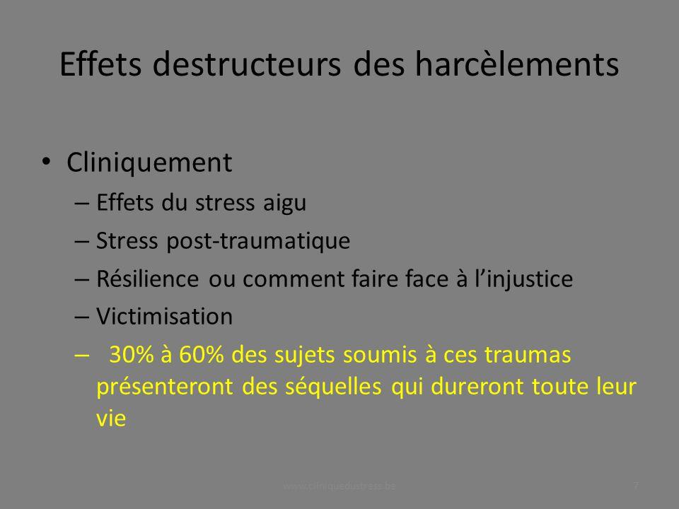 Effets destructeurs des harcèlements Cliniquement – Effets du stress aigu – Stress post-traumatique – Résilience ou comment faire face à linjustice –