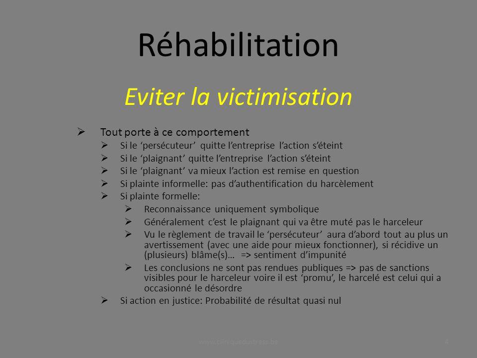 www.cliniquedustress.be Eviter la victimisation Tout porte à ce comportement Si le persécuteur quitte lentreprise laction séteint Si le plaignant quit