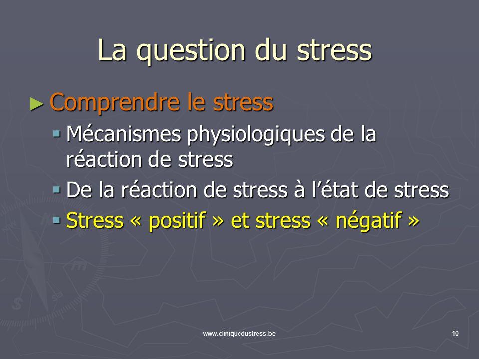 www.cliniquedustress.be10 Comprendre le stress Comprendre le stress Mécanismes physiologiques de la réaction de stress Mécanismes physiologiques de la