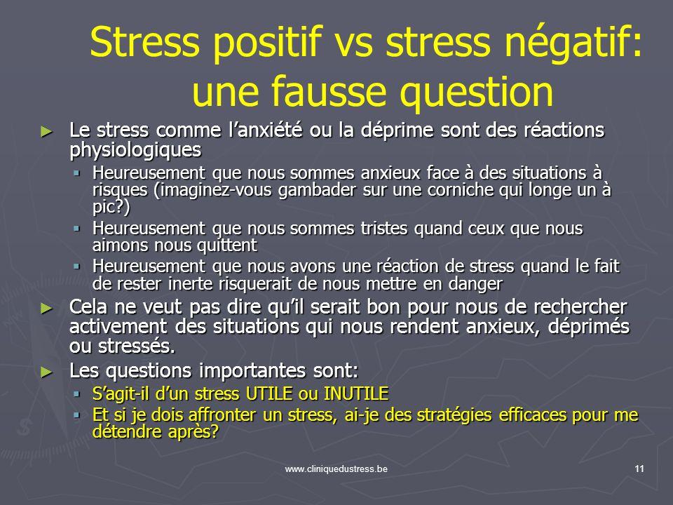 www.cliniquedustress.be11 Le stress comme lanxiété ou la déprime sont des réactions physiologiques Le stress comme lanxiété ou la déprime sont des réa