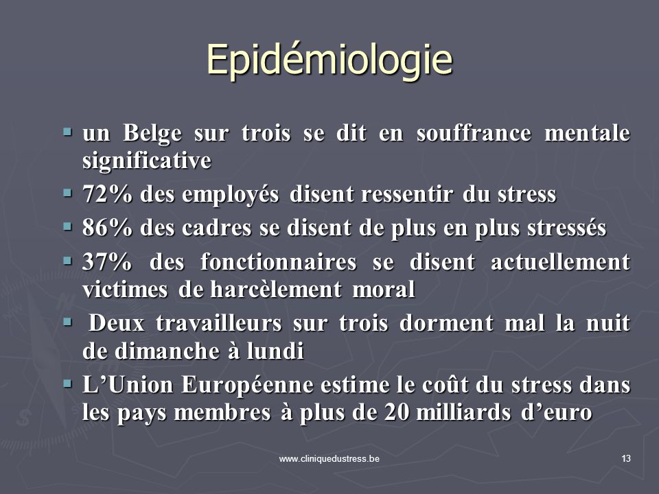 www.cliniquedustress.be13 Epidémiologie un Belge sur trois se dit en souffrance mentale significative un Belge sur trois se dit en souffrance mentale