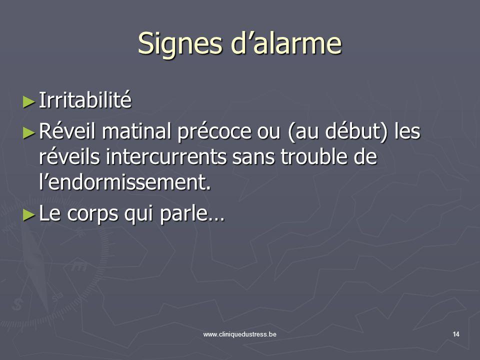 www.cliniquedustress.be14 Signes dalarme Irritabilité Irritabilité Réveil matinal précoce ou (au début) les réveils intercurrents sans trouble de lend