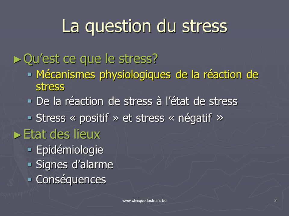 www.cliniquedustress.be2 La question du stress Quest ce que le stress? Quest ce que le stress? Mécanismes physiologiques de la réaction de stress Méca