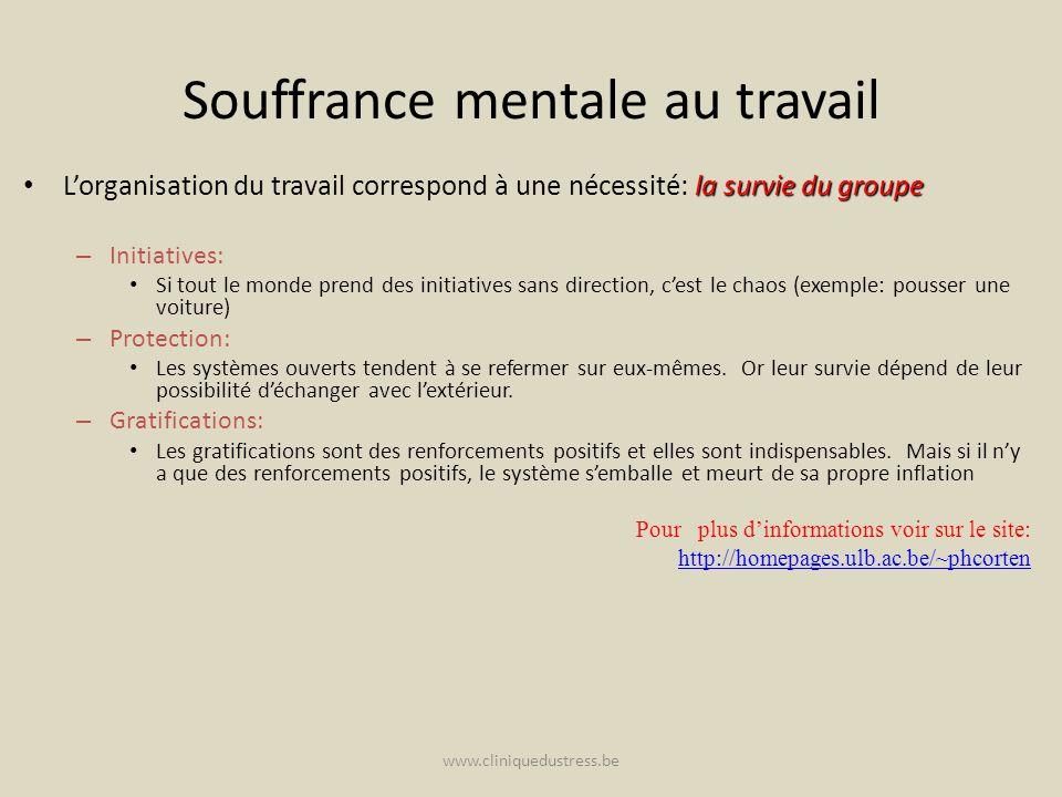 www.cliniquedustress.be Souffrance mentale au travail la survie du groupe Lorganisation du travail correspond à une nécessité: la survie du groupe – I