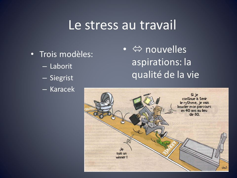 Le stress au travail Trois modèles: – Laborit – Siegrist – Karacek nouvelles aspirations: la qualité de la vie