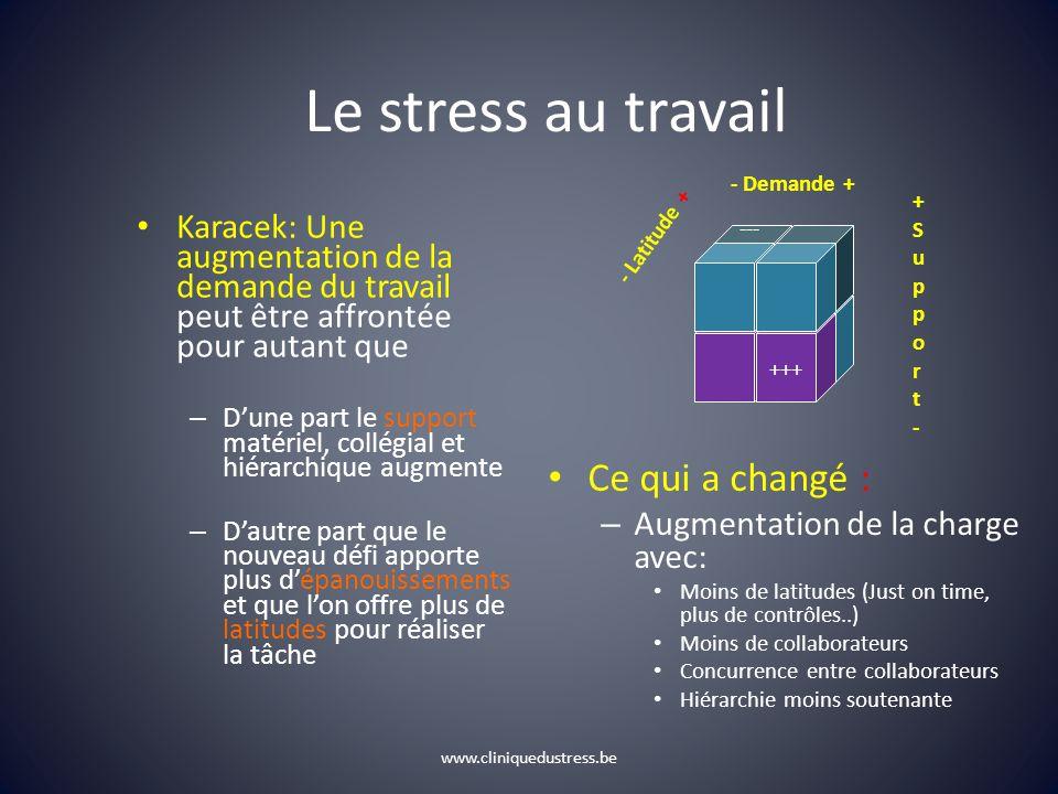 www.cliniquedustress.be Le stress au travail Karacek: Une augmentation de la demande du travail peut être affrontée pour autant que – Dune part le sup