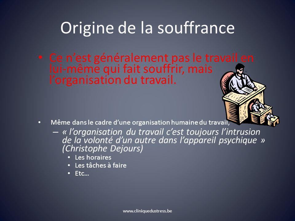 Origine de la souffrance Ce nest généralement pas le travail en lui-même qui fait souffrir, mais lorganisation du travail.