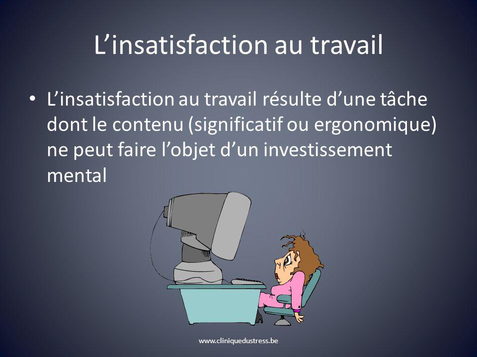 Linsatisfaction au travail Linsatisfaction au travail résulte dune tâche dont le contenu (significatif ou ergonomique) ne peut faire lobjet dun investissement mental www.cliniquedustress.be