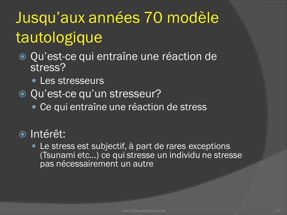 Jusquaux années 70 modèle tautologique Quest-ce qui entraîne une réaction de stress? Les stresseurs Quest-ce quun stresseur? Ce qui entraîne une réact