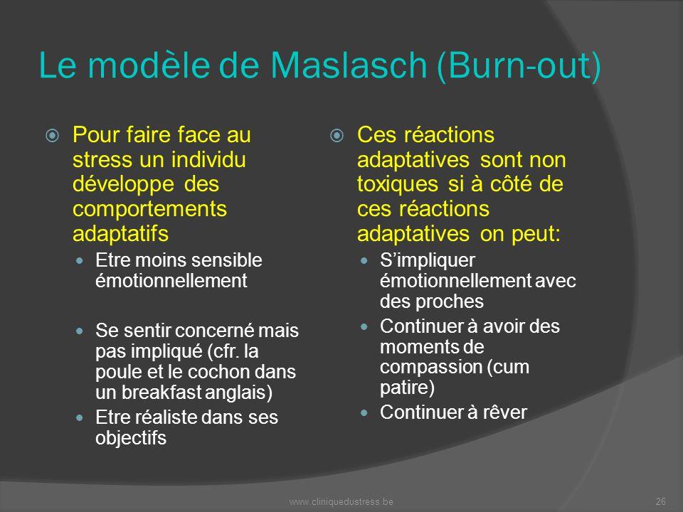 Le modèle de Maslasch (Burn-out) Pour faire face au stress un individu développe des comportements adaptatifs Etre moins sensible émotionnellement Se