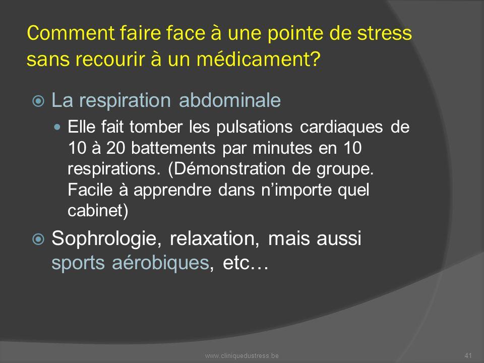 Comment faire face à une pointe de stress sans recourir à un médicament? La respiration abdominale Elle fait tomber les pulsations cardiaques de 10 à