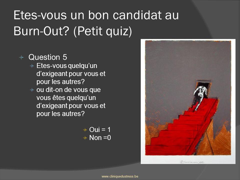 Etes-vous un bon candidat au Burn-Out? (Petit quiz) Question 5 Etes-vous quelquun dexigeant pour vous et pour les autres? ou dit-on de vous que vous ê