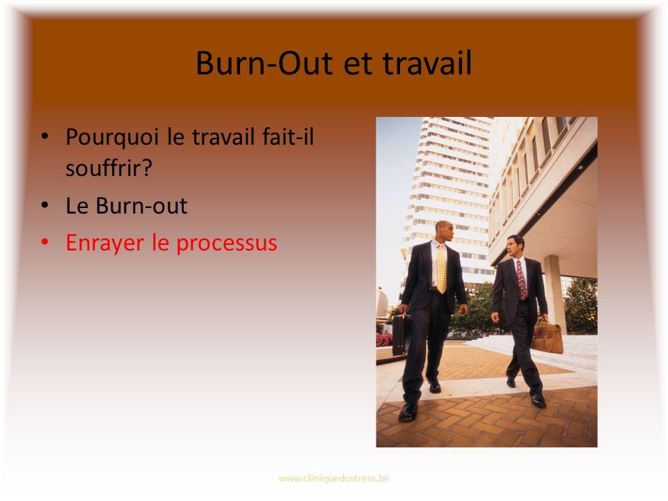 Burn-Out et travail Pourquoi le travail fait-il souffrir? Le Burn-out Enrayer le processus www.cliniquedustress.be