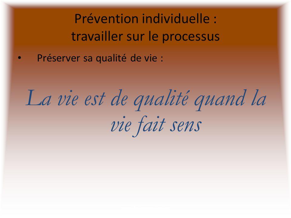 Prévention individuelle : travailler sur le processus Préserver sa qualité de vie : La vie est de qualité quand la vie fait sens www.cliniquedustress.