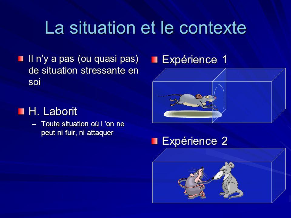 La situation et le contexte Il ny a pas (ou quasi pas) de situation stressante en soi H. Laborit –Toute situation où l on ne peut ni fuir, ni attaquer