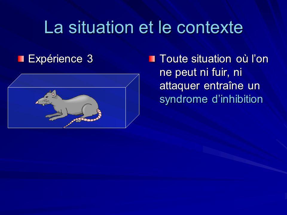La situation et le contexte Expérience 3 Toute situation où lon ne peut ni fuir, ni attaquer entraîne un syndrome dinhibition