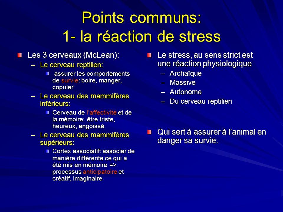 Points communs: 1- la réaction de stress Les 3 cerveaux (McLean): –Le cerveau reptilien: assurer les comportements de survie: boire, manger, copuler a