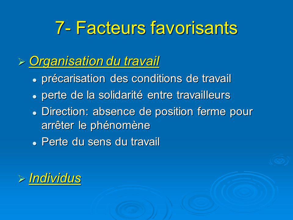 7- Facteurs favorisants Organisation du travail Organisation du travail précarisation des conditions de travail précarisation des conditions de travai