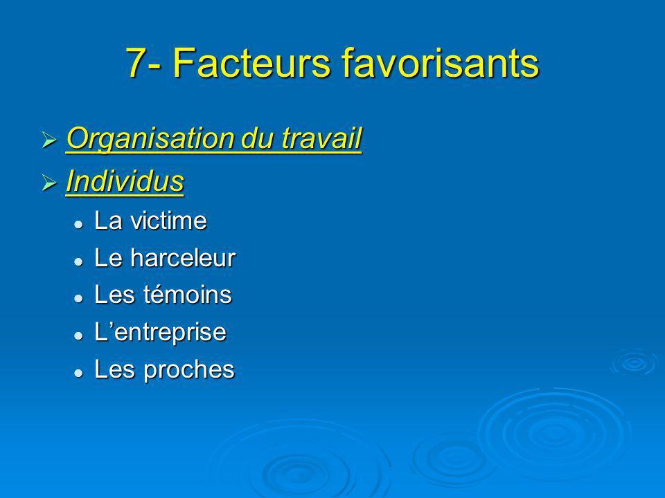 7- Facteurs favorisants Organisation du travail Organisation du travail Individus Individus La victime La victime Le harceleur Le harceleur Les témoin