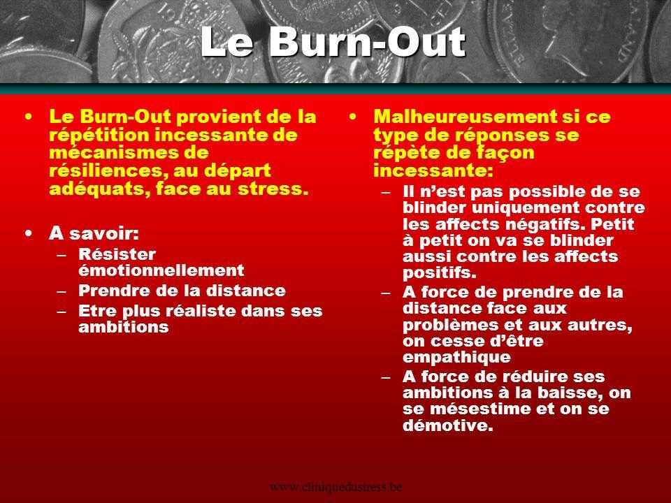 www.cliniquedustress.be Le Burn-Out Le Burn-Out provient de la répétition incessante de mécanismes de résiliences, au départ adéquats, face au stress.