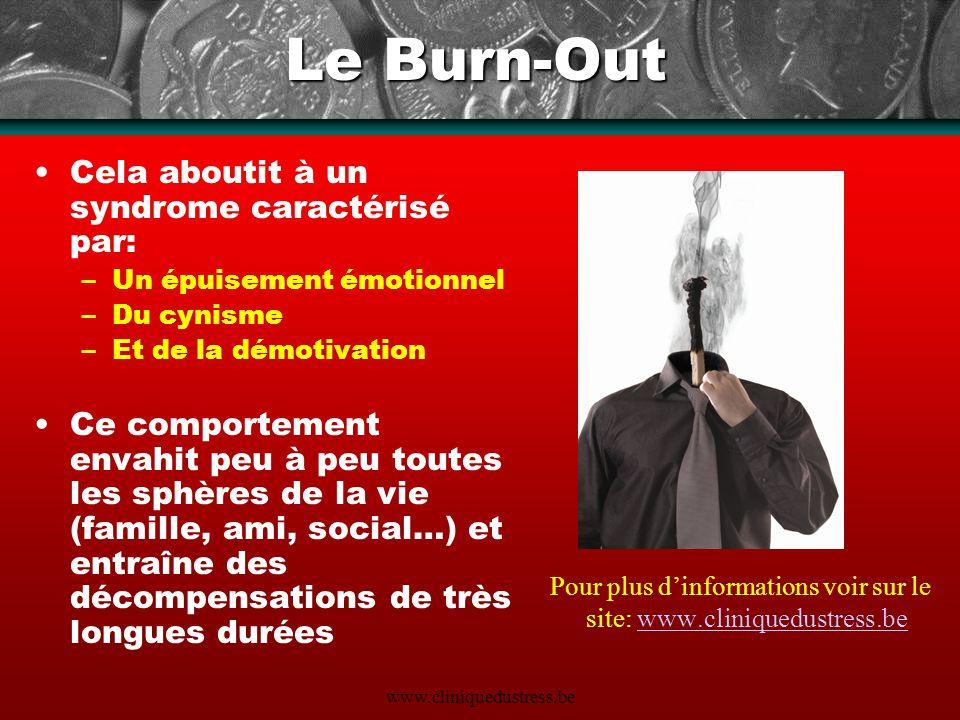 www.cliniquedustress.be Le Burn-Out Cela aboutit à un syndrome caractérisé par: –Un épuisement émotionnel –Du cynisme –Et de la démotivation Ce compor