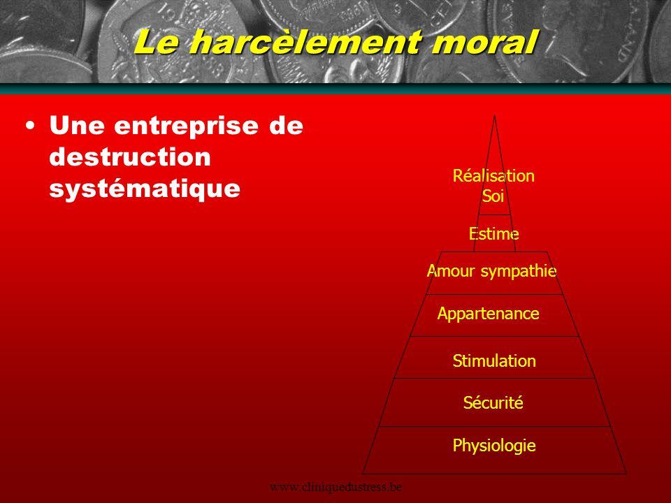 www.cliniquedustress.be Le harcèlement moral Une entreprise de destruction systématique Physiologie Sécurité Stimulation Appartenance Amour sympathie