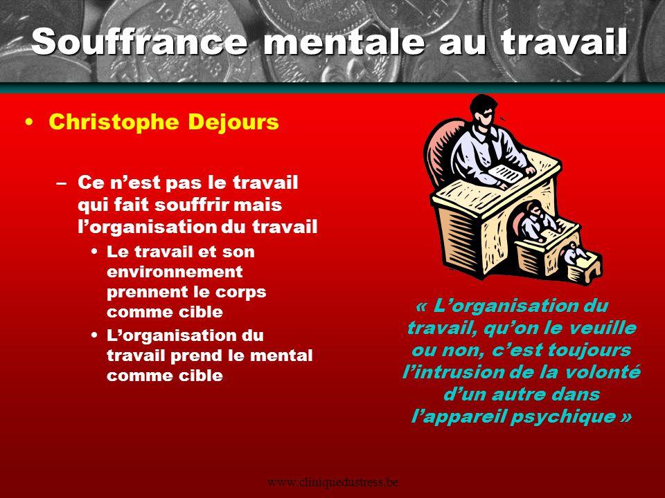 Souffrance mentale au travail Christophe Dejours –Ce nest pas le travail qui fait souffrir mais lorganisation du travail Le travail et son environneme