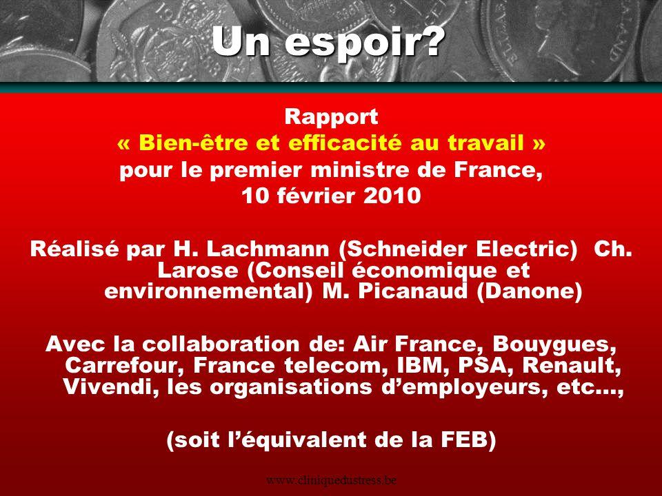www.cliniquedustress.be Un espoir? Rapport « Bien-être et efficacité au travail » pour le premier ministre de France, 10 février 2010 Réalisé par H. L