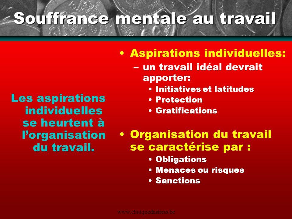 www.cliniquedustress.be Souffrance mentale au travail Les aspirations individuelles se heurtent à lorganisation du travail. Aspirations individuelles: