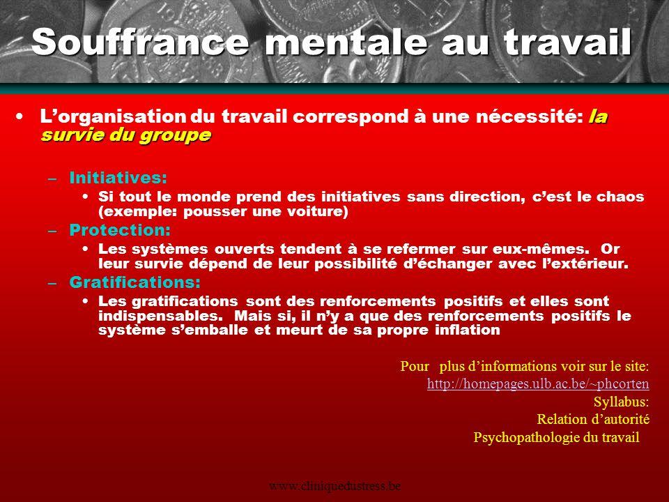 www.cliniquedustress.be Souffrance mentale au travail la survie du groupeLorganisation du travail correspond à une nécessité: la survie du groupe –Ini
