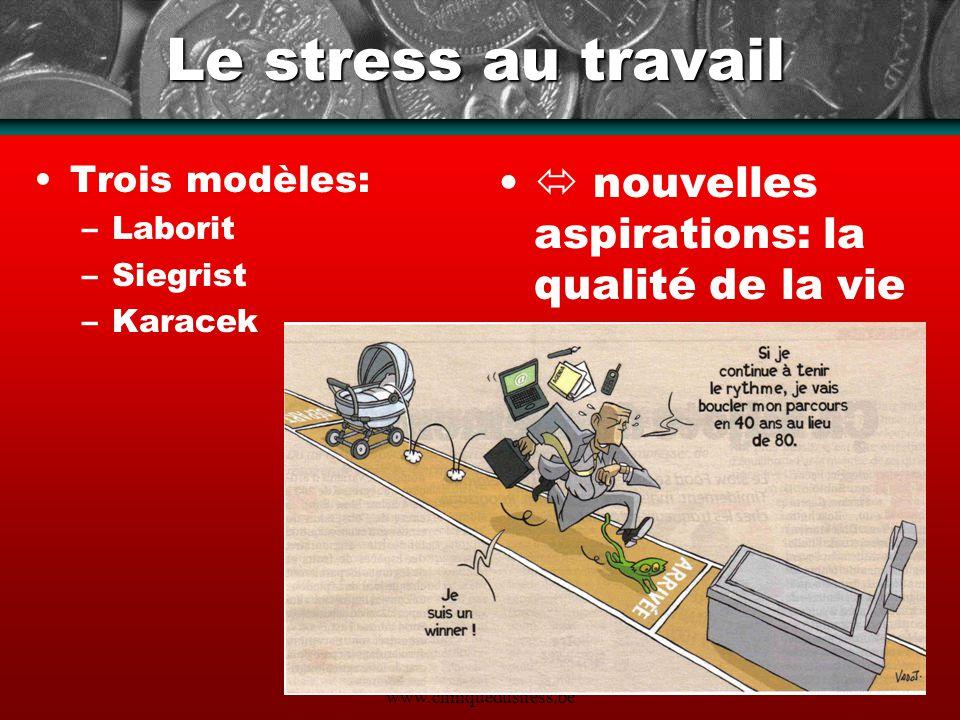 www.cliniquedustress.be Le stress au travail Trois modèles: –Laborit –Siegrist –Karacek nouvelles aspirations: la qualité de la vie